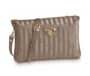 Maison Mollerus Vinerus Taupe Clutch / Crossover Gross, Gland Gold