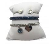 Guess Set mit drei Armbänder Silber / Blau, 20211