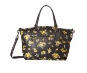 Coach Handtasche mit Flowerprint, Leder schwarz, 87109