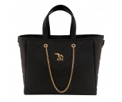 Maison Mollerus Leather Black Handtasche, Paradiso Gold