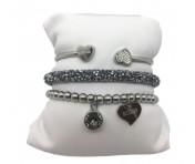 Guess Set mit drei Armbänder Silber / Grau, 20210