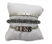Guess Set mit drei Armbänder Silber / Grau, 20214