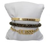 Guess Set mit drei Armbänder Gold / Braun, 20216