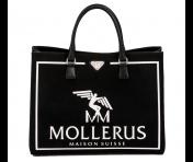 Maison Mollerus Vinerus Canvas Black Handtasche Groß, München Silber