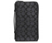 Coach Portemonnaie , Double Zip Travel Organizer, Signature black, 93430