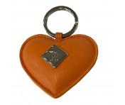 Maison Mollerus Leder Orange Schlüsselanhänger, Alvier silber