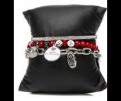 Guess Set mit drei Armbänder Silber/Rot, 80082
