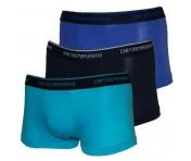 Emporio Armani 3er Set Basic Stretch Cotton Trunk schwarz/blau/türkis, 111357 Größe S