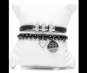 Guess Set mit drei Armbänder Silber/Schwarz, 80086