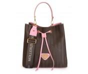 Maison Mollerus Vinerus Colorblocking Trunk / Baby Pink Beuteltasche, Grabs Gold