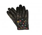 Tosca Blu Handschuhe, schwarz mit bunten Steinen