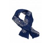 Moschino Tuch mit großem Schriftzug, blau