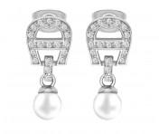 Aigner Ohrstecker mit Kristallen / Perlen, silber, A690133