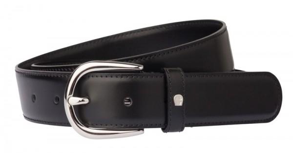 Aigner Gürtel Basic , S-Schließe silber 126371 schwarz, Überlänge 120 - 140 cm