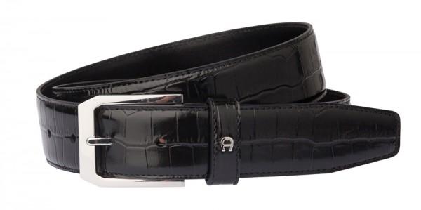 Aigner Gürtel Basic mit S-Schließe silber 126357 schwarz