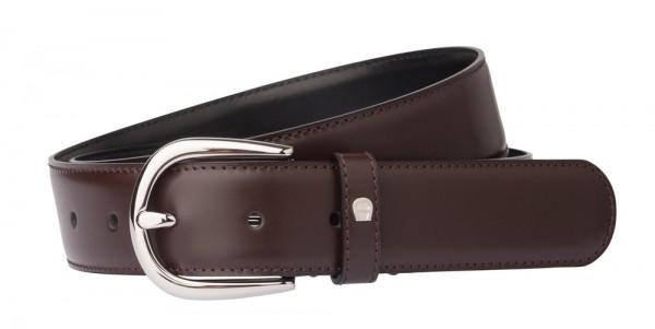 Aigner Gürtel Basic mit S-Schließe silber 126371 dunkelbraun