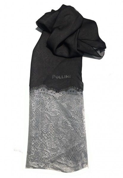 Pollini Seidentuch mit Spitze, Grau