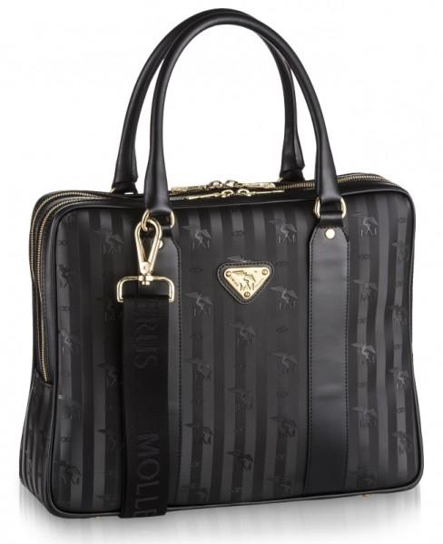 Maison Mollerus Vinerus Black Business Bag, Siat Gold