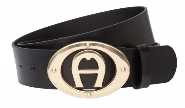 Aigner Logogürtel Basic Schließe gold 127372, schwarz