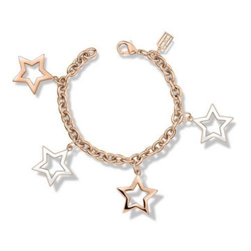 Tommy Hilfiger Damen Armband Edelstahl mit vier Sternenanhänger, rosé 2700892