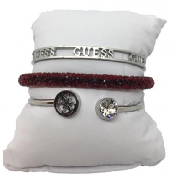 Guess Set mit drei Armbänder Silber / Rot, 20205