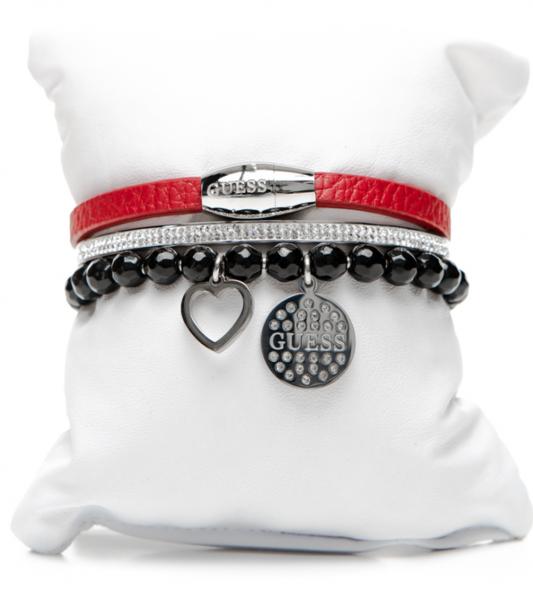 Guess Set mit drei Armbänder Silber/Schwarz/Rot, 80088