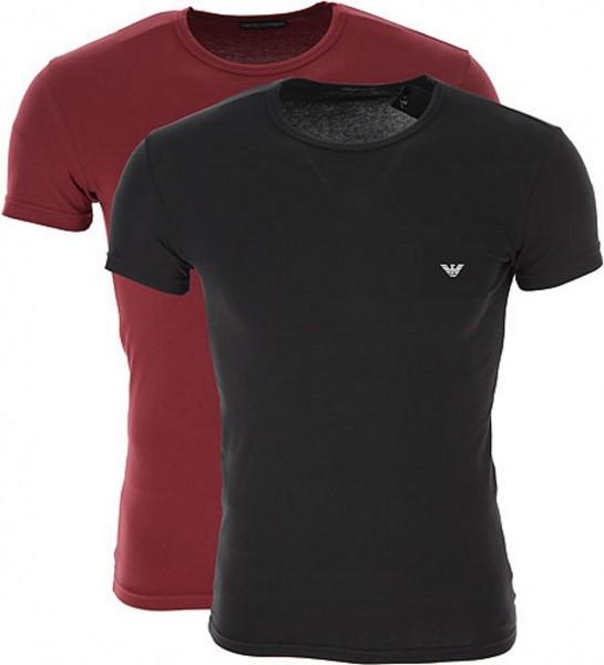 Emporio Armani 2er Set T-Shirt, Schwarz / Bordeaux 111267 Größe M