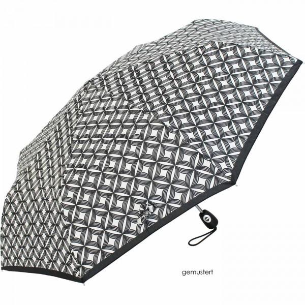 Pierre Cardin Regenschirm Easymatic light, black&white-gemustert