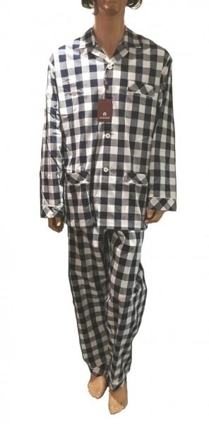 Aigner Pyjama, 156046, Blau / Weiß kariert Größe 54